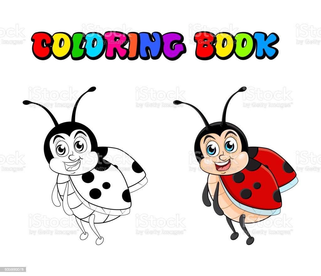 Uğur Böceği çizgi Film Beyaz Arka Plan üzerinde Izole Kitap Boyama