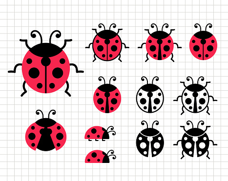 Ladybug clip art. Insect vector illustration. Cute funny animal. Silhouette vector flat illustration. Cutting file. Suitable for cutting software. Cricut, Silhouette