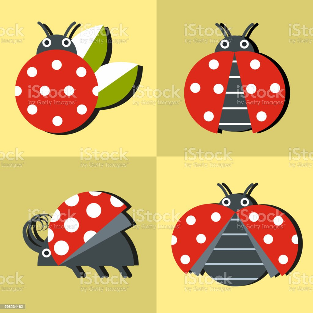 Ladybug icons in style on yellow background ilustração de ladybug icons in style on yellow background e mais banco de imagens de abstrato royalty-free