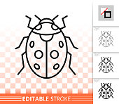 Ladybug insect simple black line vector icon