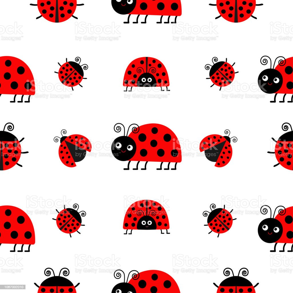 ladybug ladybird icon set baby collection funny insect seamless