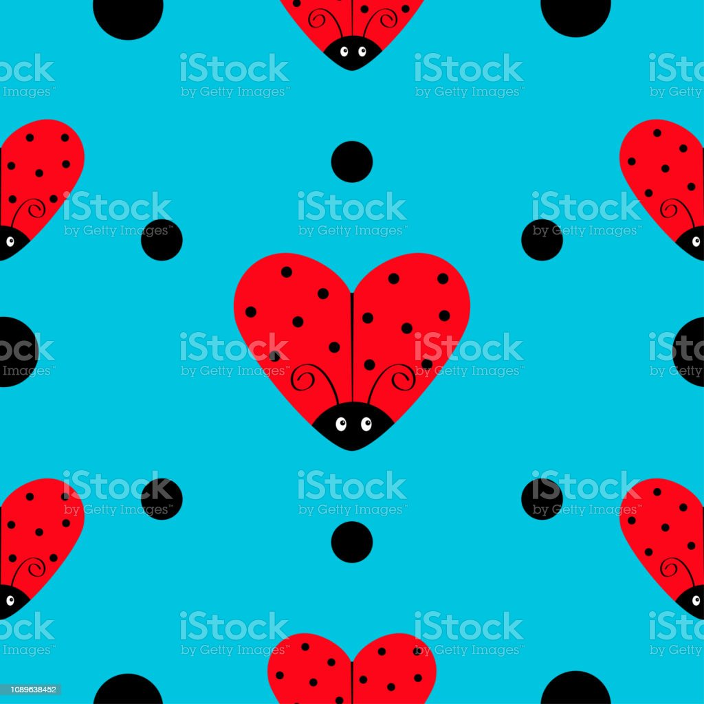 Ladybug Ladybird icon set. Heart shape. Baby collection. Funny kawaii baby insect. Black dots. Seamless Pattern Wrapping paper, textile template. Blue background. Flat design.