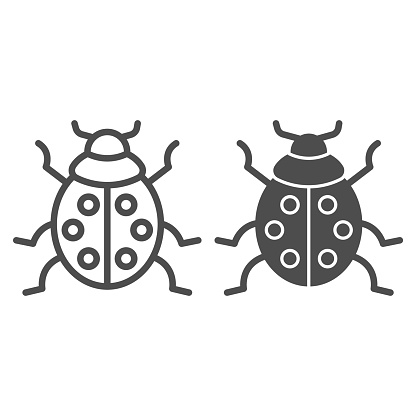 Ladybug line and solid icon, beetles concept, ladybird sign on white background, lady-beetle icon in outline style for mobile concept and web design. Vector graphics.