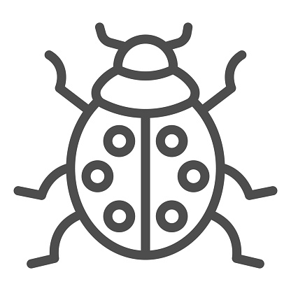 Ladybug line icon, beetles concept, ladybird sign on white background, lady-beetle icon in outline style for mobile concept and web design. Vector graphics.