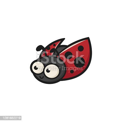 Ladybug Logo mascot vector insect bug spring animal fly beetle illustration cute cartoon small spotted happy funny smile outdoor baby kids young cheerful