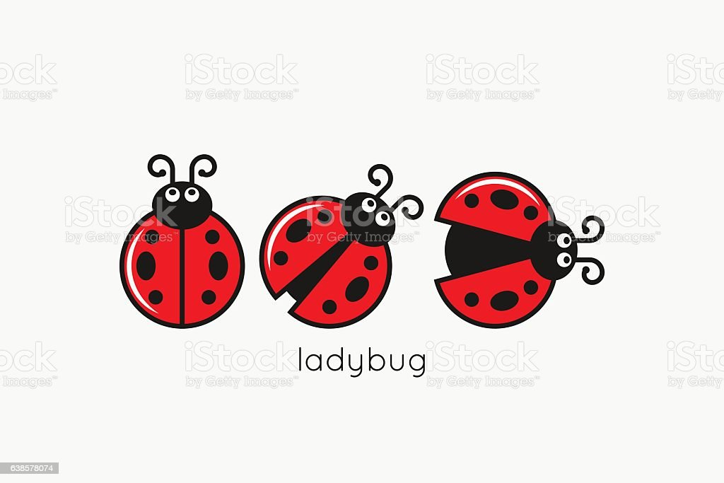 Ladybug Logo Set On White Design Background