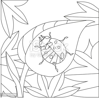 A ladybug on a leaf, coloring page, black outline on white isolated background, vector stock illustration for coloring activity, concept of Anti stress, goods for Children, Nature and Insects, Hobby.