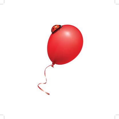 ladybug on a red balloon