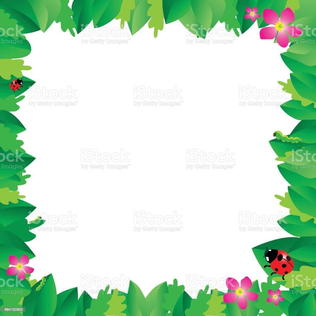Ladybug on leaves with green leaves frame. ladybug on leaves with green leaves frame - stockowe grafiki wektorowe i więcej obrazów abstrakcja royalty-free