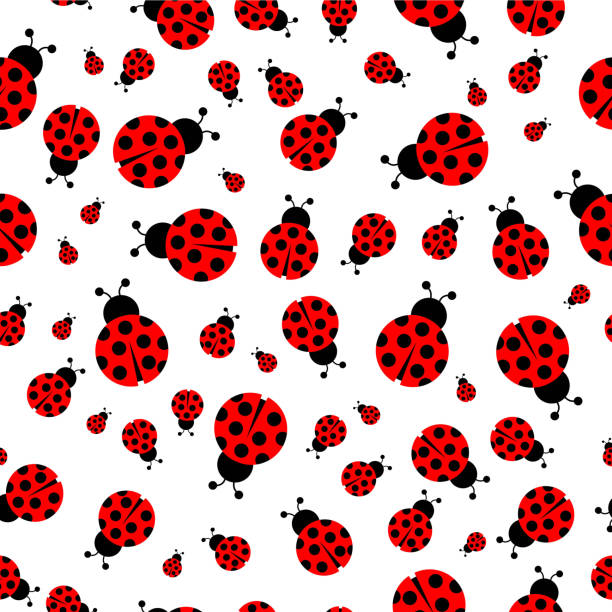 Ladybug seamless pattern vector – artystyczna grafika wektorowa