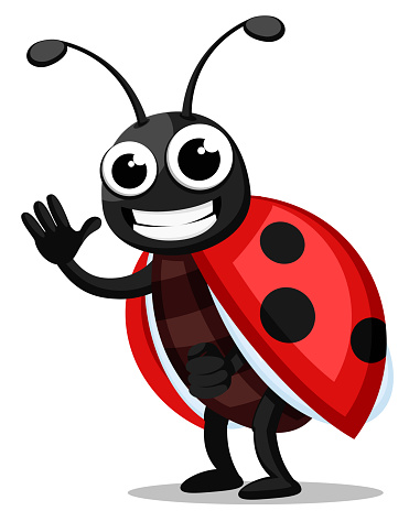 Ladybug stands, waves and smiles. The character