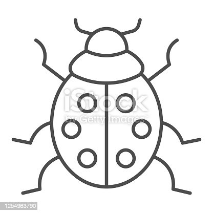 Ladybug thin line icon, beetles concept, ladybird sign on white background, lady-beetle icon in outline style for mobile concept and web design. Vector graphics