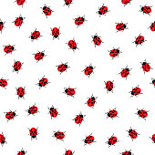 Vector seamless pattern of little ladybugs on a white background.