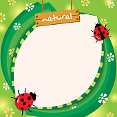Illustration vector of ladybugs beetles decorated on green leafs and flowers background design for template