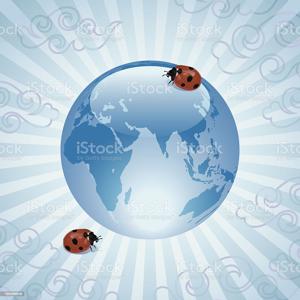 Ladybugs with Glass World Sphere Vector royalty-free stock vector art