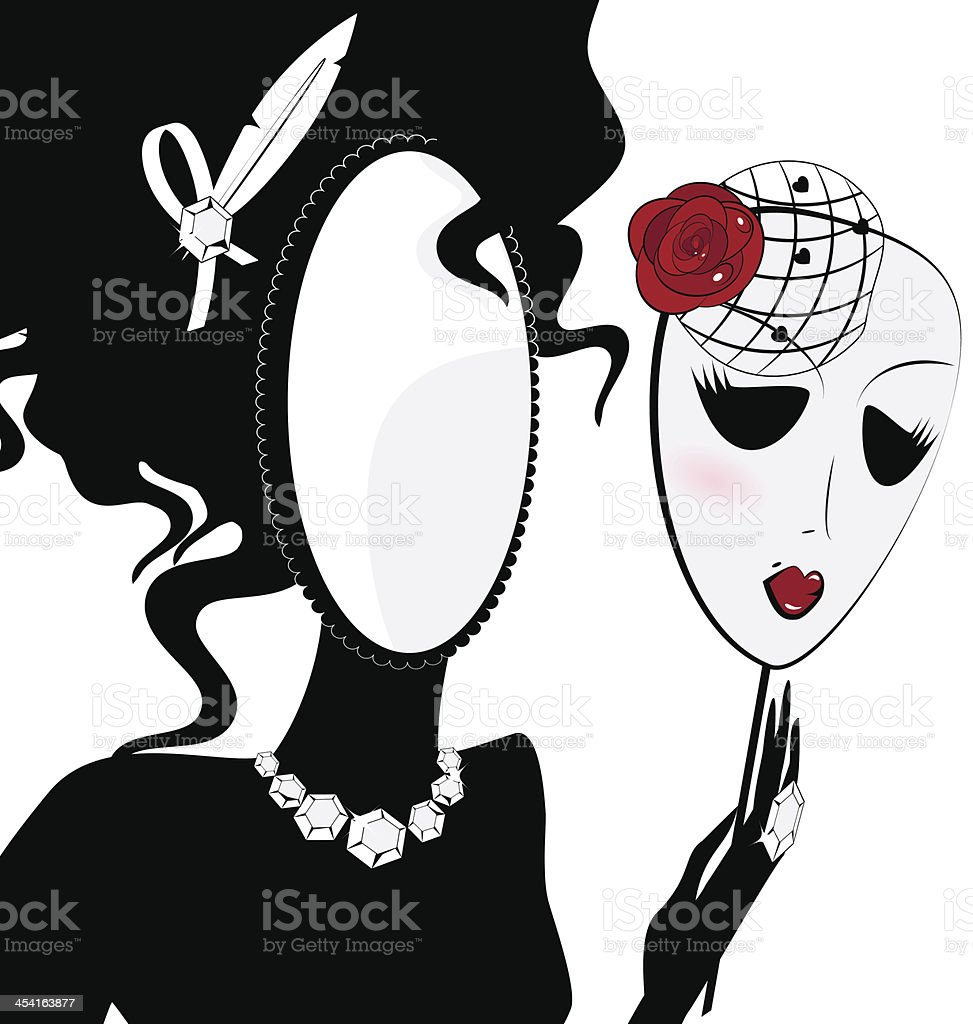 lady-mirror with mask vector art illustration