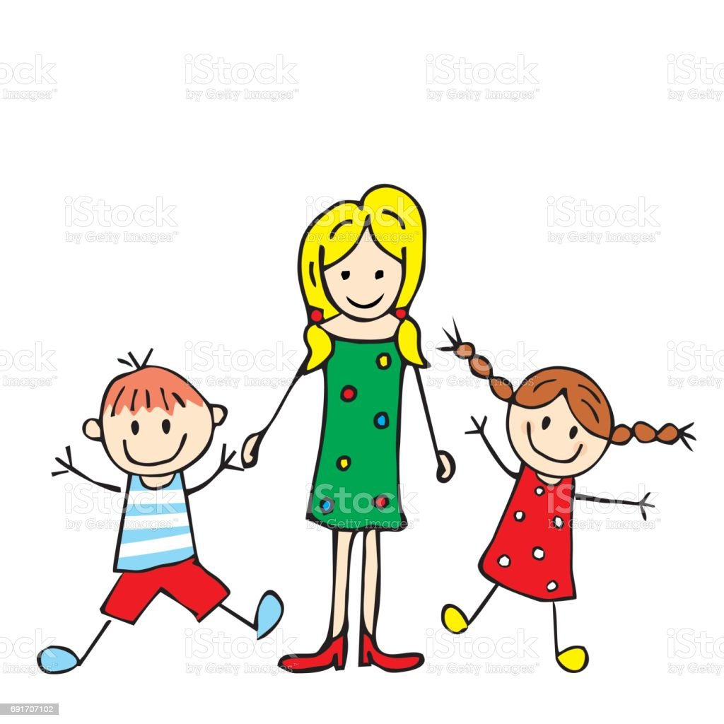 Ladyr and boy and girl vector art illustration