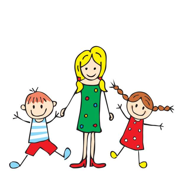 ladyr and boy and girl - babysitter stock illustrations, clip art, cartoons, & icons