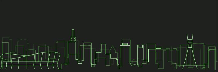 Lagos Futurist Technology Light Trace Skyline