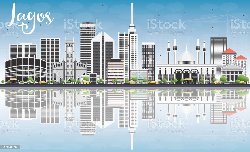 Lagos Skyline with Gray Buildings, Blue Sky and Reflections. vector art illustration