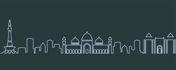 Lahore Single Line Skyline Lahore Single Line Skyline lahore pakistan stock illustrations