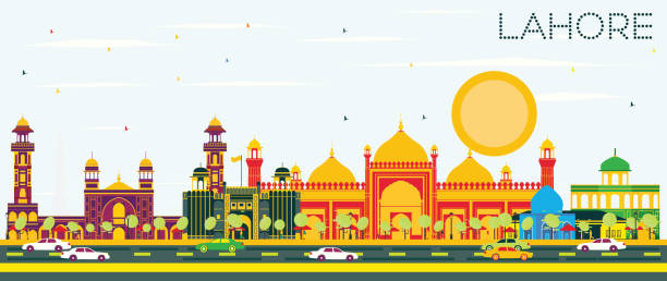 Lahore Skyline with Color Landmarks and Blue Sky Lahore Skyline with Color Landmarks and Blue Sky. Vector Illustration. Business Travel and Tourism Concept with Historic Buildings. Image for Presentation Banner Placard and Web. lahore pakistan stock illustrations
