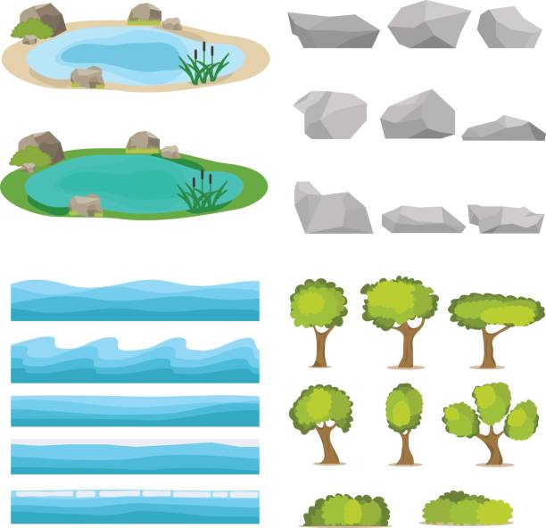 lake, a set of stones, trees, a set of seascapes, a wave. - pond stock illustrations