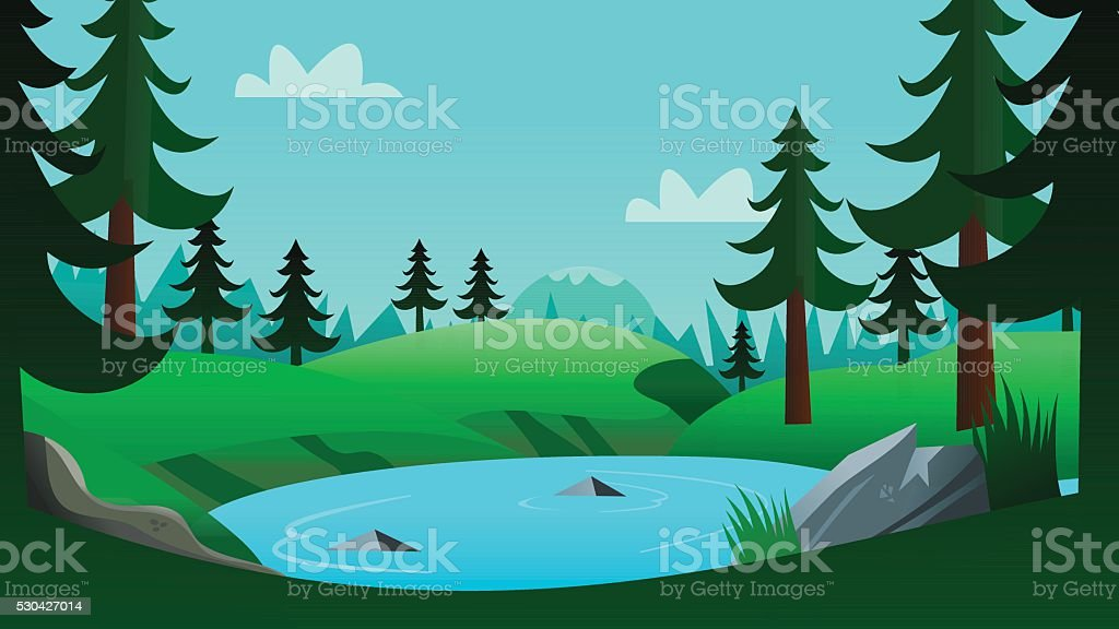 lake and forest cartoon background scene stock vector art more