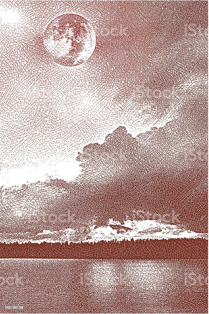 Lake and Full Moon vector art illustration