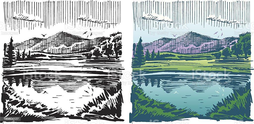 Lake and Mountain Landscape vector art illustration