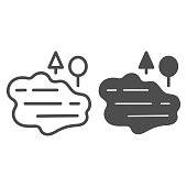 Lake and trees line and glyph icon. Water vector illustration isolated on white. Nature outline style design, designed for web and app. Eps 10
