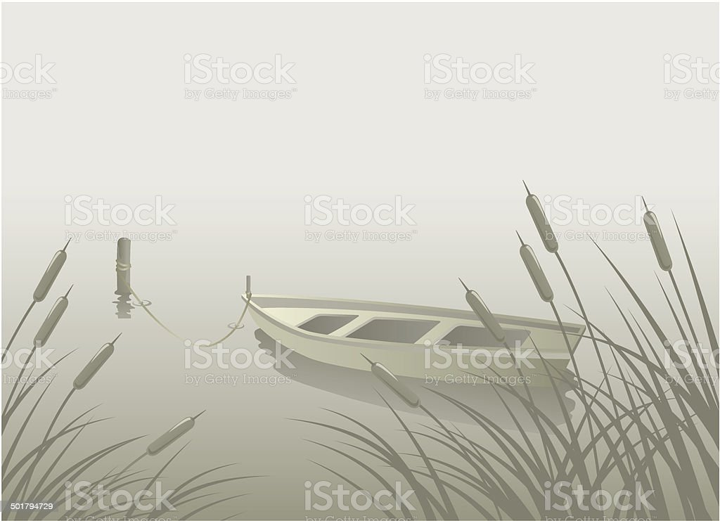 Lake Boat Reeds vector art illustration