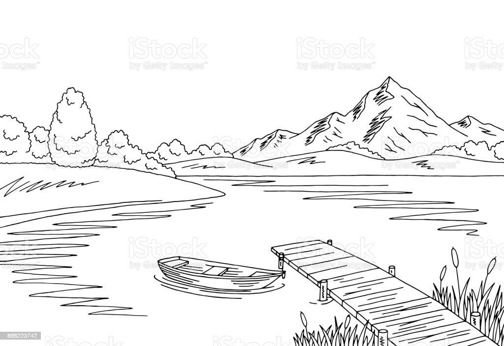 Vector ilustración del bosquejo gráfico negro blanco paisaje del lago puente - ilustración de arte vectorial