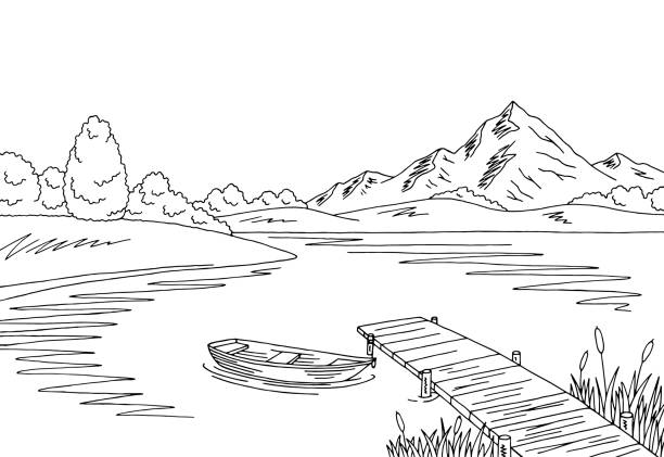 Royalty Free Mountain Lake Graphic Art Black White