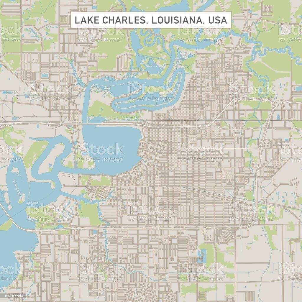 Lake Charles Louisiana Us City Street Map Stock Vector Art More