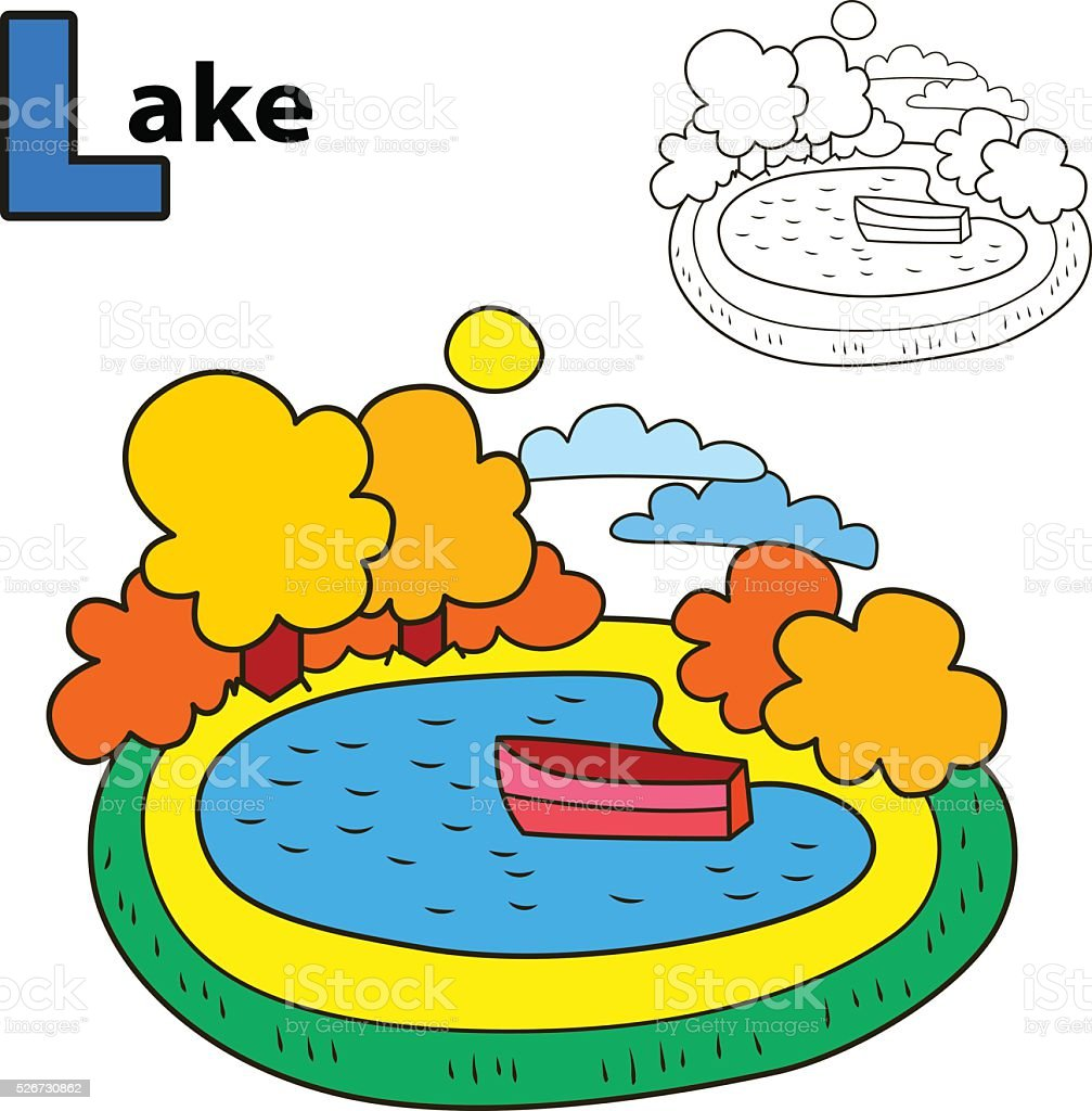 Ilustración de Lago Libro Para Colorear Página Ilustración De ...