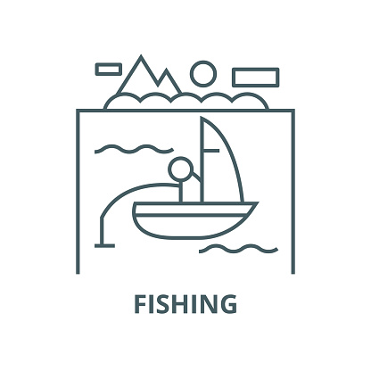 Lake, fishing on boat vector line icon, linear concept, outline sign, symbol