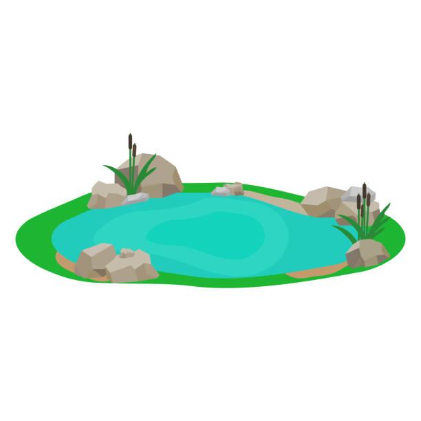 Lake, icon lake, water, stones, reeds, grass. Flat design, vector. Lake, icon lake, water, stones, reeds, grass. Flat design, vector. pond stock illustrations