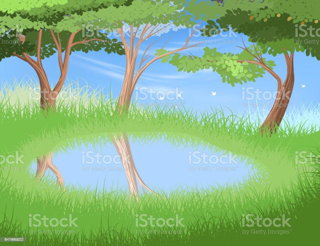 Lake in forest scene vector art illustration