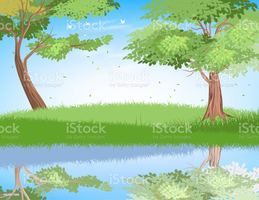 Lake in nature vector art illustration