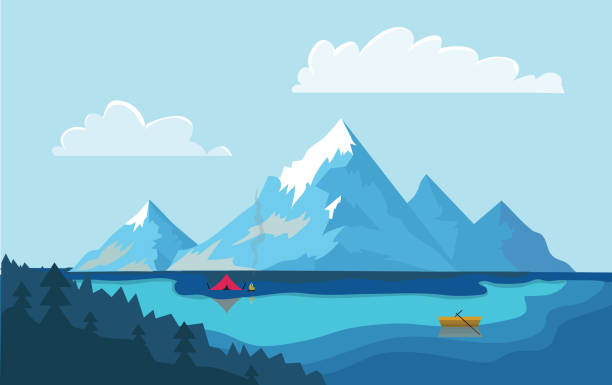 Lake in the mountains. The boat on the water, campfire next to the tourist tent on the shore. Vector illustration. Lake in the mountains. Fishing boat on the water, campfire next to the tourist tent on the shore. Vector illustration. lakeshore stock illustrations