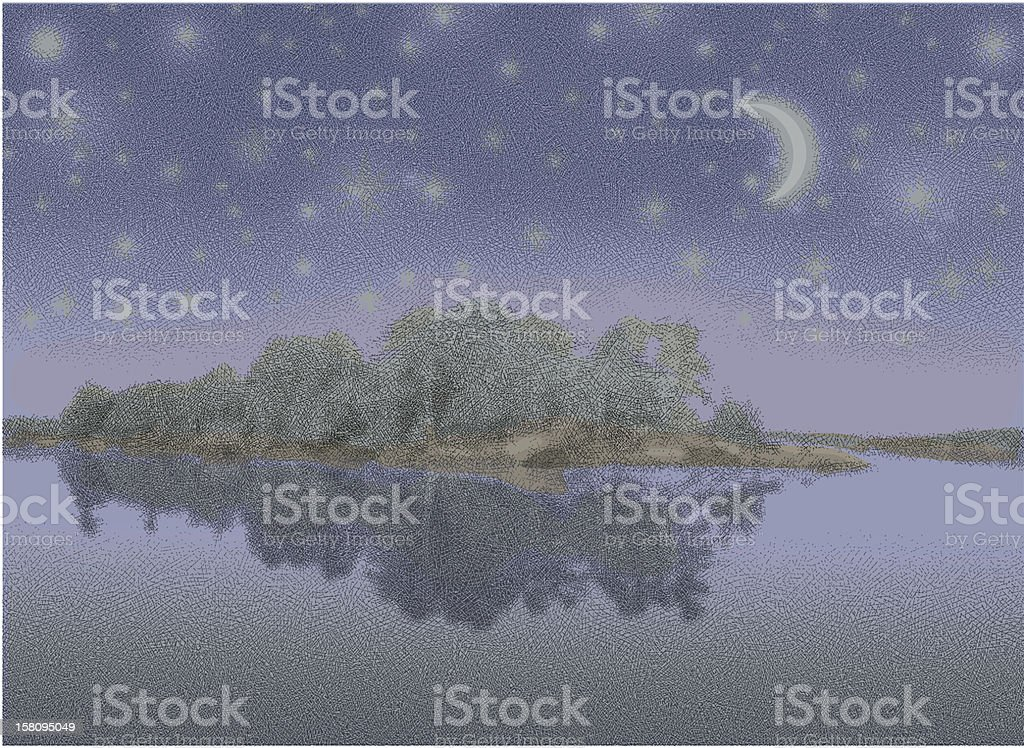 Lake, Island and Starry Night vector art illustration