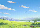 Vector illustration of a beautiful rural landsapce with a lake, bushes, hills, snowy mountains, and green meadows under a blue, cloudy sky.