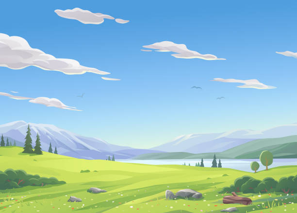 lake landscape - панорамный stock illustrations