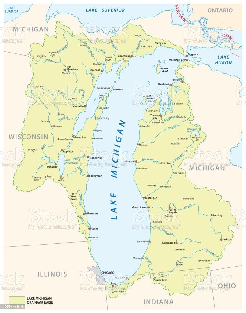 Ilustración de Mapa De La Cuenca De Drenaje Del Lago Michigan y más ...