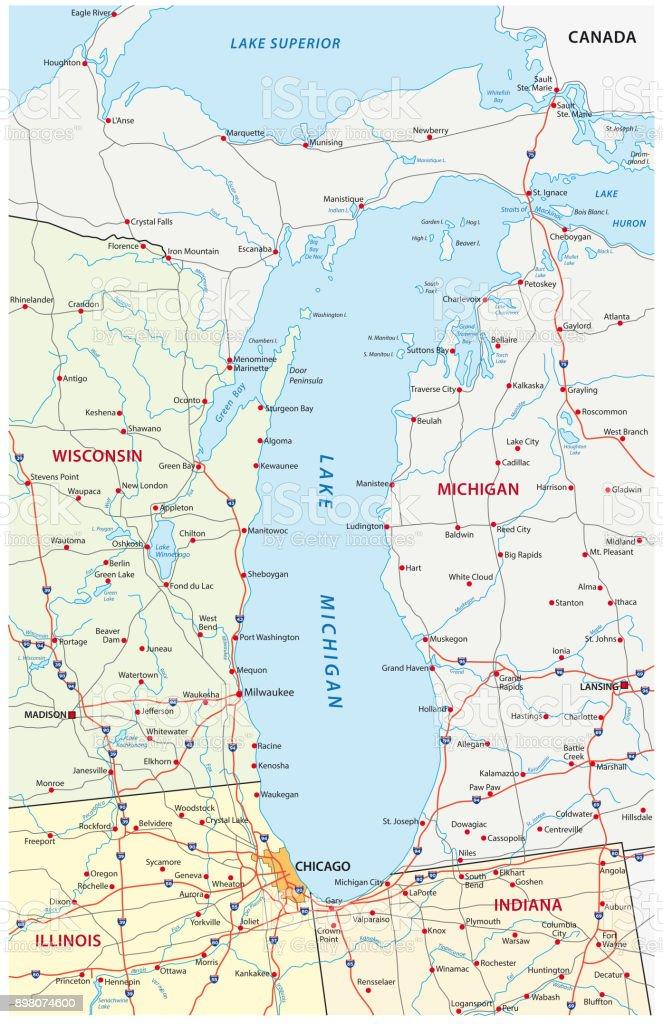 Lake Michigan Map Stock Vector Art More Images Of Chicago - Lake-michigan-us-map