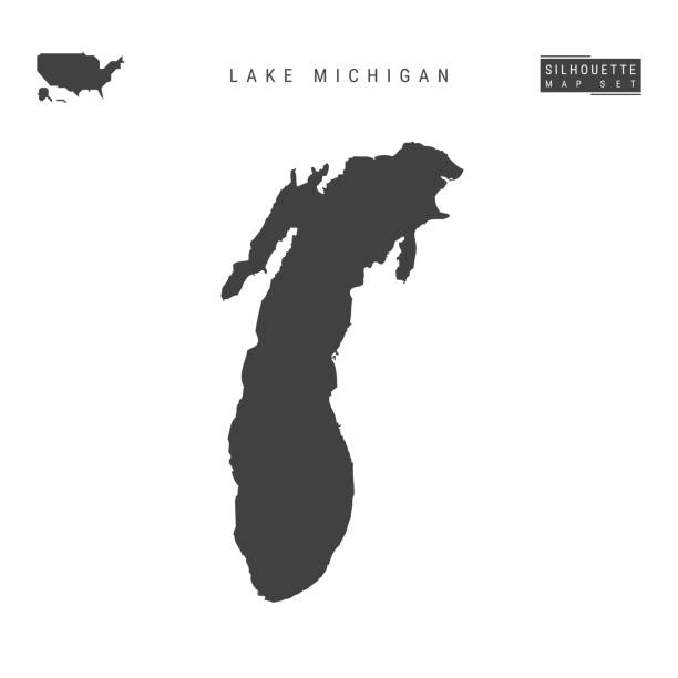 lake michigan vector map isolated on white background. high-detailed black silhouette map of lake michigan - lake michigan stock illustrations