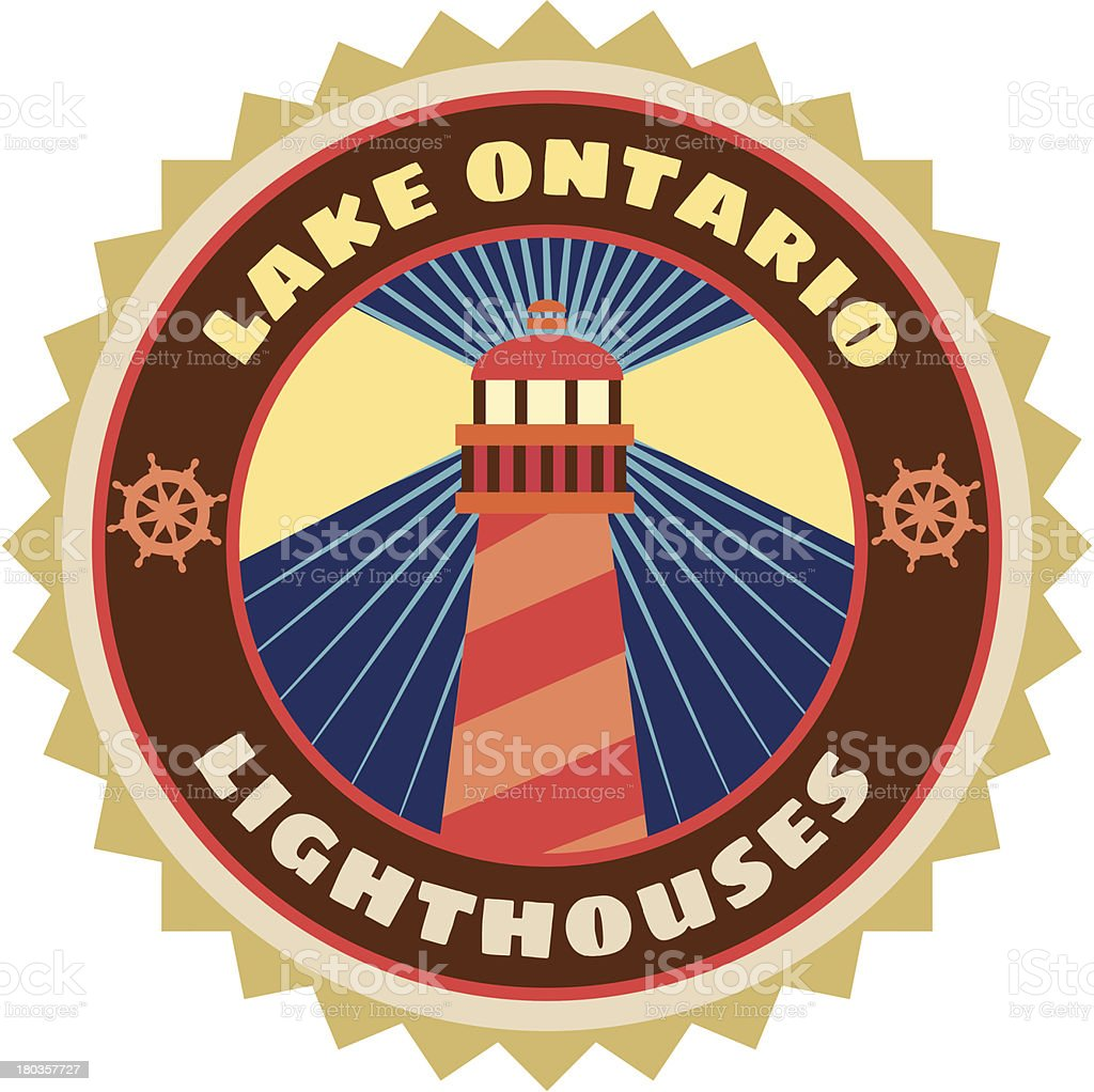 Lake Ontario luggage label or travel sticker vector art illustration