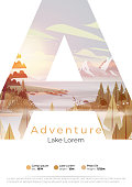 Lake summer camp poster with pine forest,  and mountains