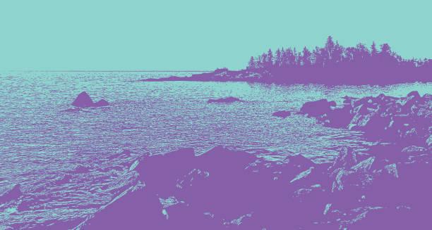 lake superior shoreline at sunrise - lake superior stock illustrations, clip art, cartoons, & icons